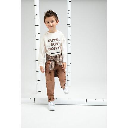 Tee-shirt manches courtes en jersey chiné avec zip et inscription printée