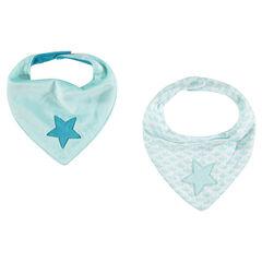 Lot de 2 bavoirs forme bandana avec étoiles brodées , Prémaman