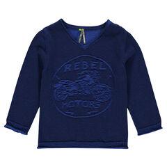 Pull en tricot avec col V et motif moto