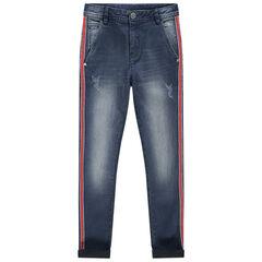 Junior - Jean effet used slim à bandes contrastées