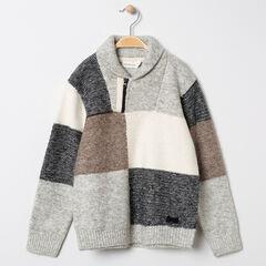 Pull en tricot à carrreaux et col zippé