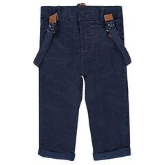 Pantalon droit doublé jersey avec bretelles amovibles