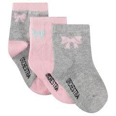 Lot de 3 paires de chaussettes assorties avec noeud jacquard
