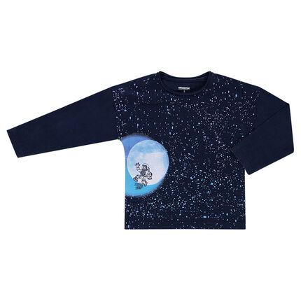 Tee-shirt manches longues forme boîte avec print galaxie