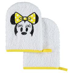 Set de 2 gants de toilette en éponge Disney motif Minnie brodée