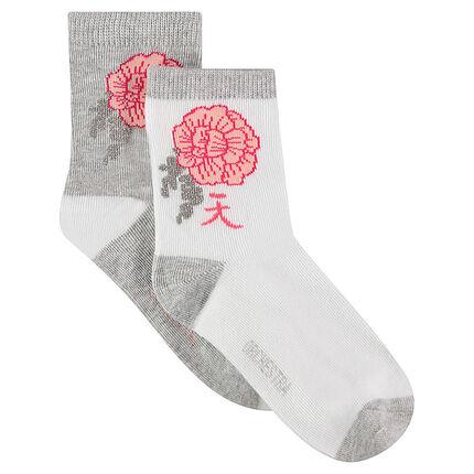 Junior - Lot de 2 paires de chaussettes avec fleur esprit japon en jacquard