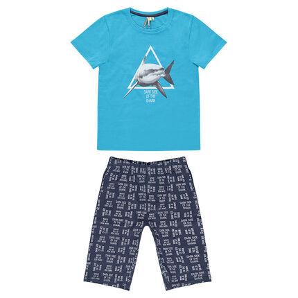 Junior - Pyjama court en jersey avec requin printé