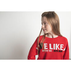 Junior - Pull en tricot rouge avec message en jacquard
