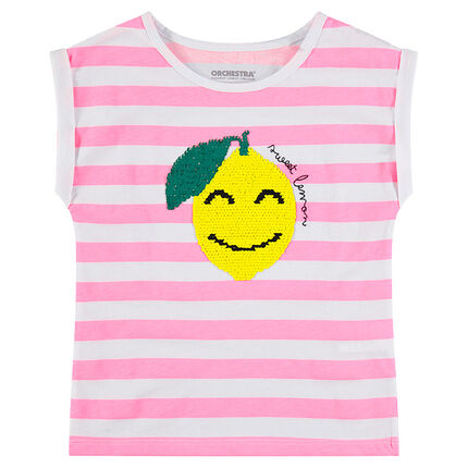 Tee-shirt manches courtes en jersey à rayures et citron en sequins magiques