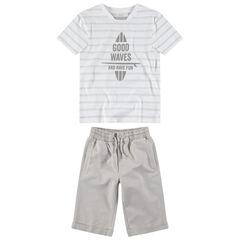 Junior - Ensemble avec tee-shirt manches courtes rayé et bermuda uni