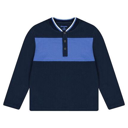 Junior - Polo manches longues en jersey avec col esprit teddy