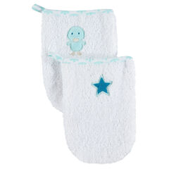 Set de 2 gants de toilette avec étoile et oiseau brodés