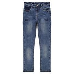 Junior - Jeans effet used et crinkle coupe slim