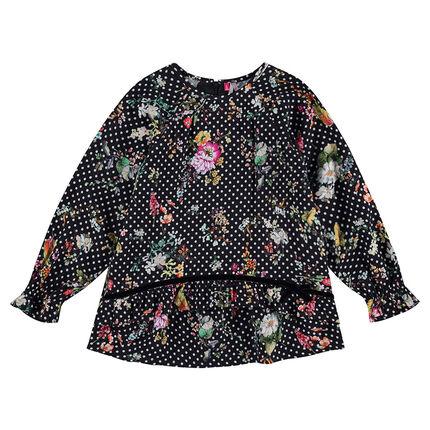 Tunique manches longues en satin de coton avec fleurs et pois all-over