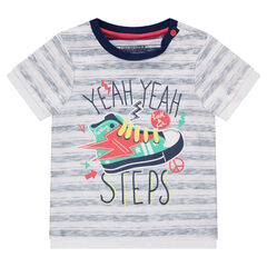 Tee-shirt manches courtes rayé avec chaussure printée