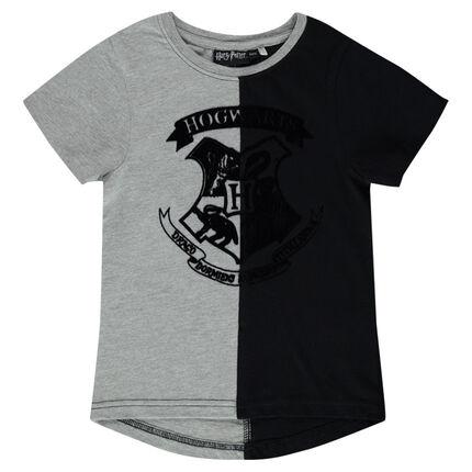 Tee-shirt manches courtes bicolore avec print en feutrine