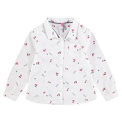 Chemise manches longues avec cerises imprimées all-over