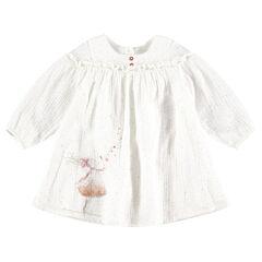 Robe manches longues en coton tubique avec poupée pailletée printée