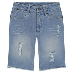 Junior - Bermuda en denim effet used et crinkle