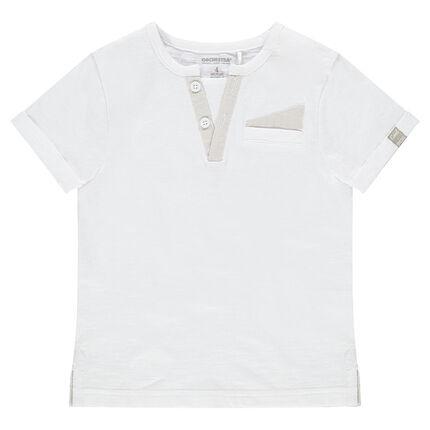 Tee-shirt manches courtes en jersey avec poche et col fantaisie