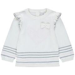 Pull en tricot à emmanchures volantées et rayures contrastées