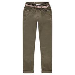 Pantalon kaki slim avec clous fantaisie et ceinture irisée