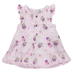 Robe manches courtes volantée avec oursons all-over