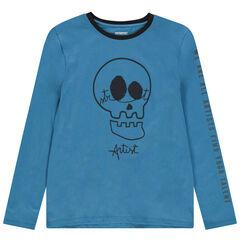 Junior - T-shirt manches longues print tête de mort avec yeux en sequins magiques