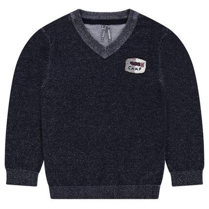 Pull en tricot avec badge patché