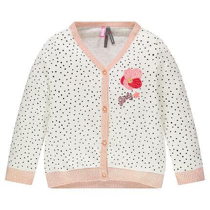 Gilet en tricot fin imprimé pois et fleur brodée