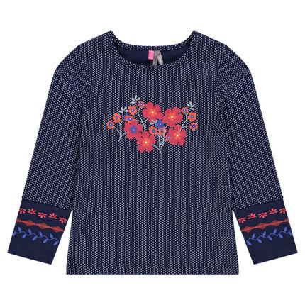Tee-shirt manches longues à pois avec print fleurs