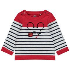 Marinière motif Mickey à col boutonné