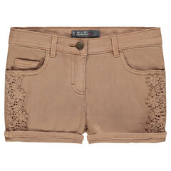 Junior - Short en twill avec dentelle