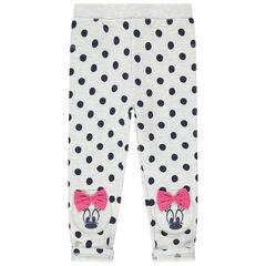 Legging chiné à pois all-over et prints Minnie Disney