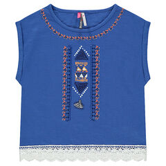 Tee-shirt manches courtes avec broderies et crochet