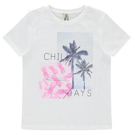 Junior - Tee-shirt manches courtes en jersey avec ananas et palmiers