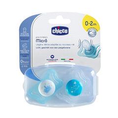 Lot de 2 sucettes Physio Micro en silicone 0-2M - Bleu