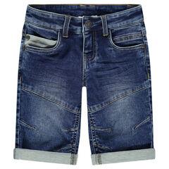 Bermuda en jeans effet used et crinkle avec poches