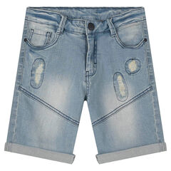Junior - Bermuda en jeans avec usures fantaisie et découpes