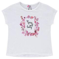 Tee-shirt manches courtes forme boîte avec imprimé floral