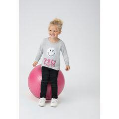 Tee-shirt manches longues chiné avec print ©Smiley iridescent