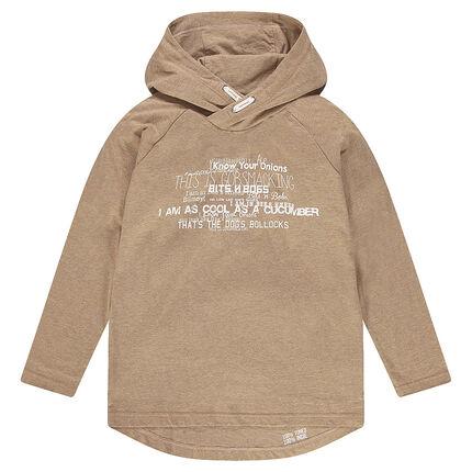 Junior - Tee-shirt manches longues à capuche avec inscriptions printées