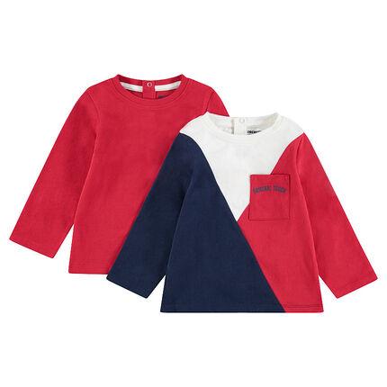 Lot de 2 Tee-shirts manches longues en jersey uni / contrasté avec poche