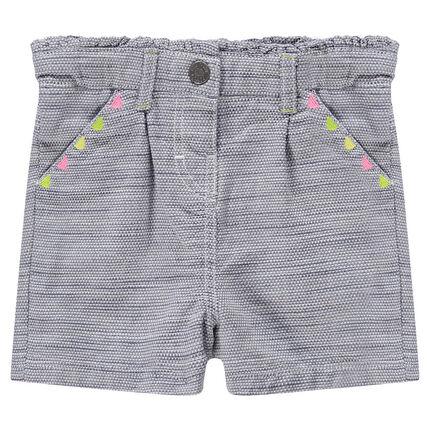 Short en coton fantaisie avec motifs colorés brodés