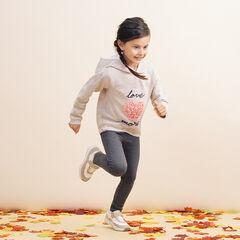 Jogging bicolore en molleton avec coeur effet pétales