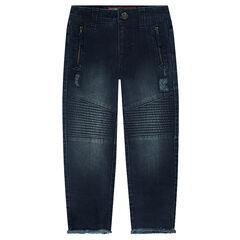 Jeans effet used fitté avec poches zippées