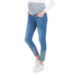 Jeans de grossesse 7/8ème avec enduction effet arc-en-ciel