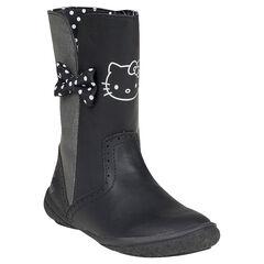 Bottes noires et argentées Hello Kitty avec noeud à pois