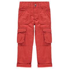 Pantalon cargo en toile rouge avec poches à rabat