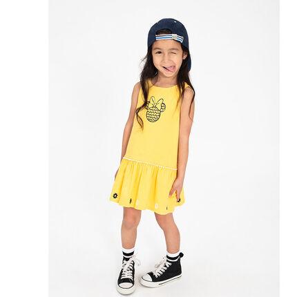 Robe jaune en jersey avec Minnie ©Disney printée sur le devant